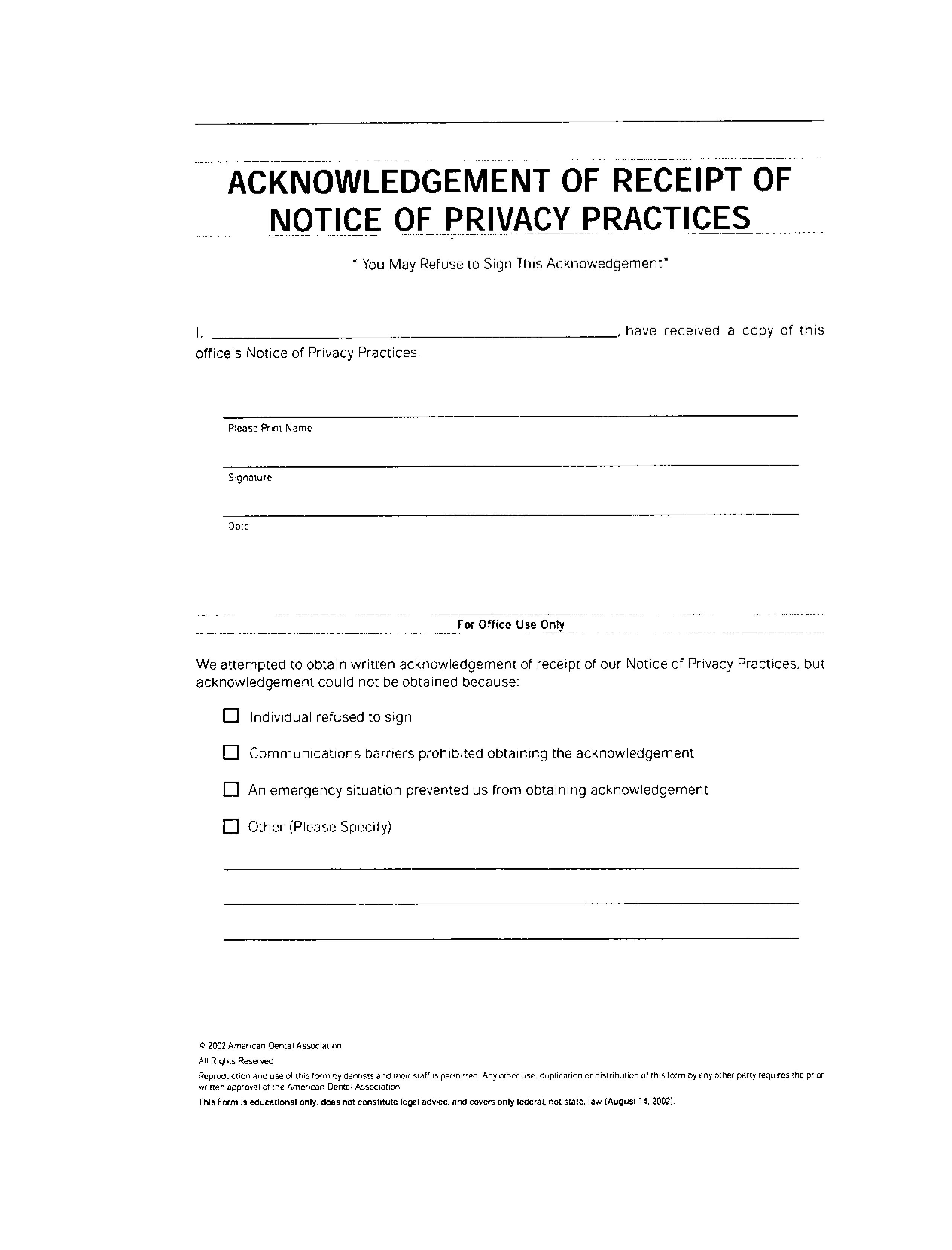 Acknowledgement Of Receipt Of Notice Of Privacy Practices Marcus Dental Care